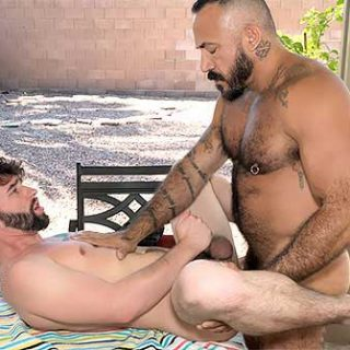 Jackson Fillmore was thirsty so he sought daddy Alessio Romero in the backyard. Alessio was happy to let the young stud hold and taste his hairy big cock.