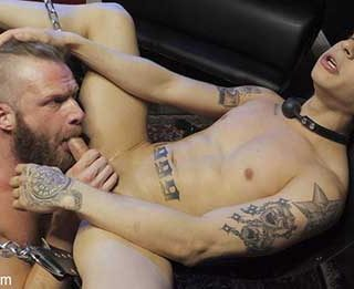 First time Dom Brian Bonds is hot for Daniel Hausser and his rockin' body. After tearing off his clothes Daniel gets slung up in the sling with his legs spread wide, arms cuffed, blindfolded and mouth gagged.