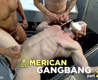 Doctor Draven Navarro and his pervy muscular orderlies Dilon Diaz and Colby Jansen continue the kinky, debauched fun with disorderly patient Pierce Paris in American Gangbang part 2.